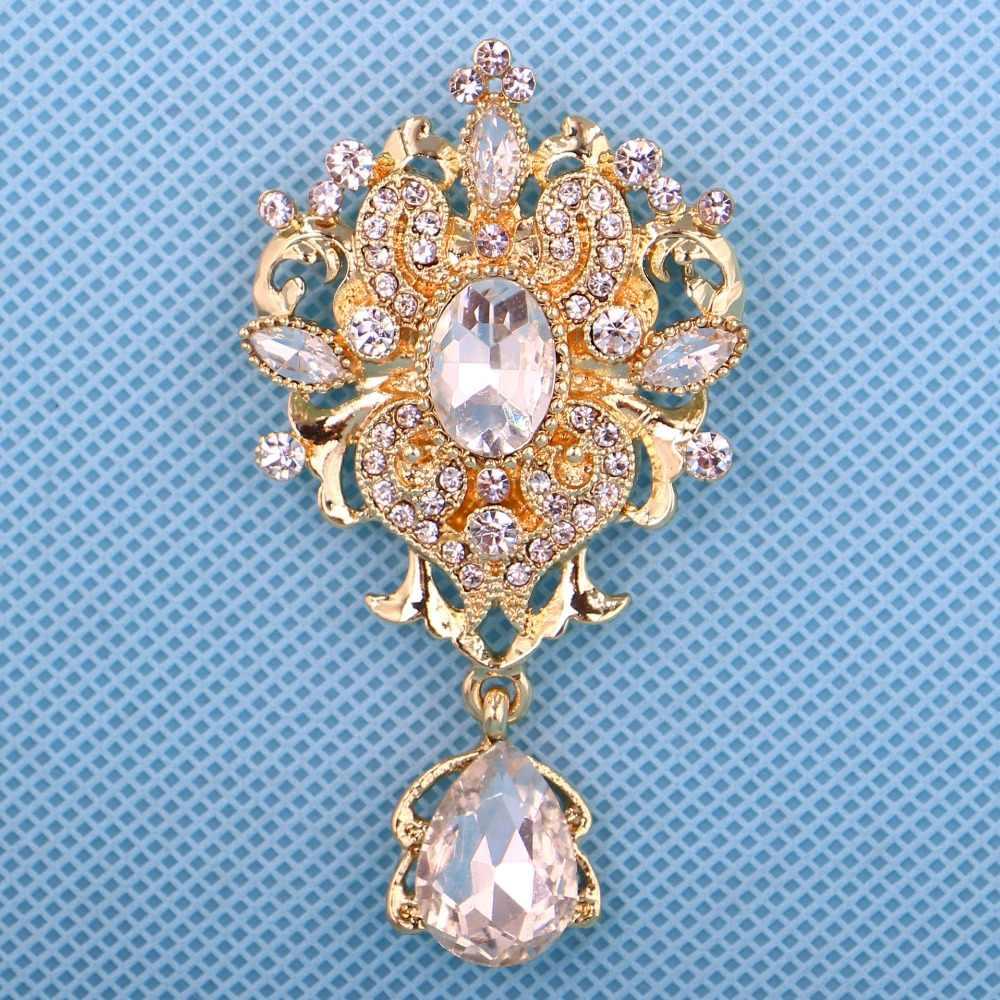 DIEZI Coreano Oro Argento Da Sposa Spilla di Cristallo Dei Monili Per Le Donne Del Fiore Spille Strass Spilla Sciarpa Spilli Bouquet Da Sposa