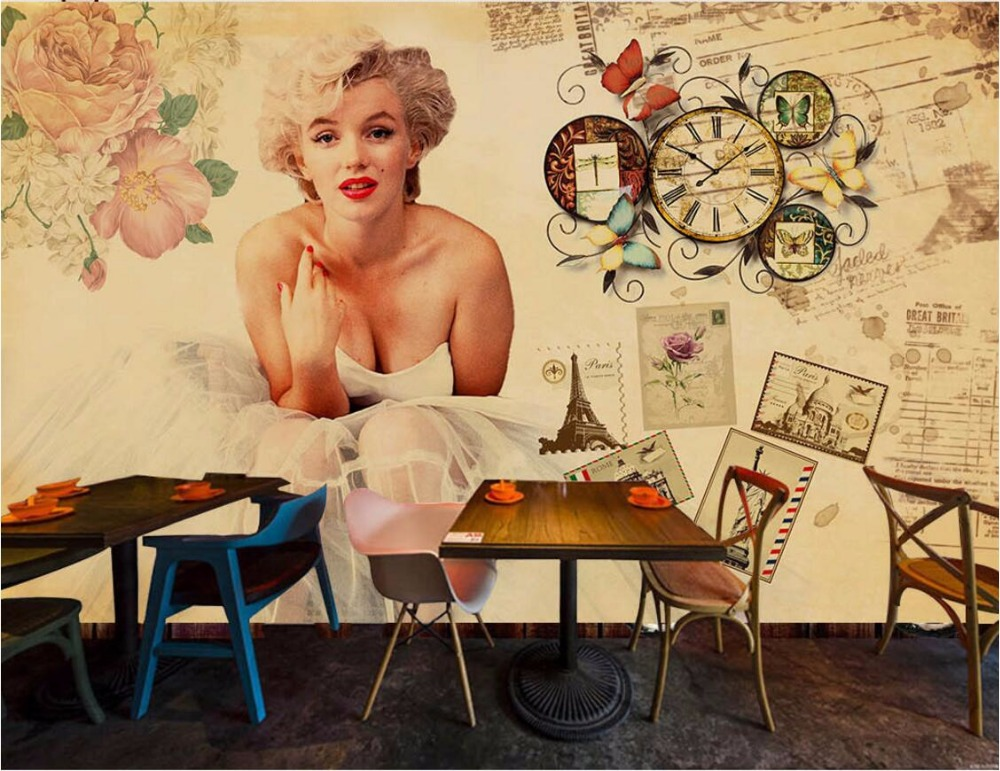 3d Wallpaper Custom Mural Retro Marilyn Monroe Painting Wall Papers Home  Decoration 3d Wall Murals Wallpaper