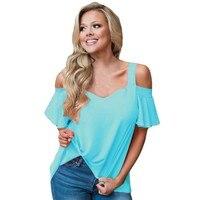 YSMARKET T Shirts Women 2017 Summer Tops Plus Size Clothing Ruffle Sleeve Asymmetric Hem Ladies Open