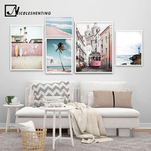 Landscape Canvas Poster Nordic Decoration Bus Ocean Beach Wall Art Print Painting Decorative Picture Scandinavian Home Decor(China)