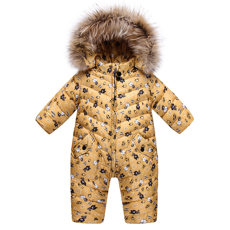 Russian Winter Baby Down Romper Girls Snowsuit Outdoor Overalls for Boy Kids Snow Outfit Bebes Real Animal Fur Hood Romper