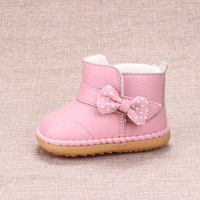 2017 Cute Baby Girl Snow Boots Winter Cotton Shoes Female Baby Toddler Shoes Soft Bottom Genuine