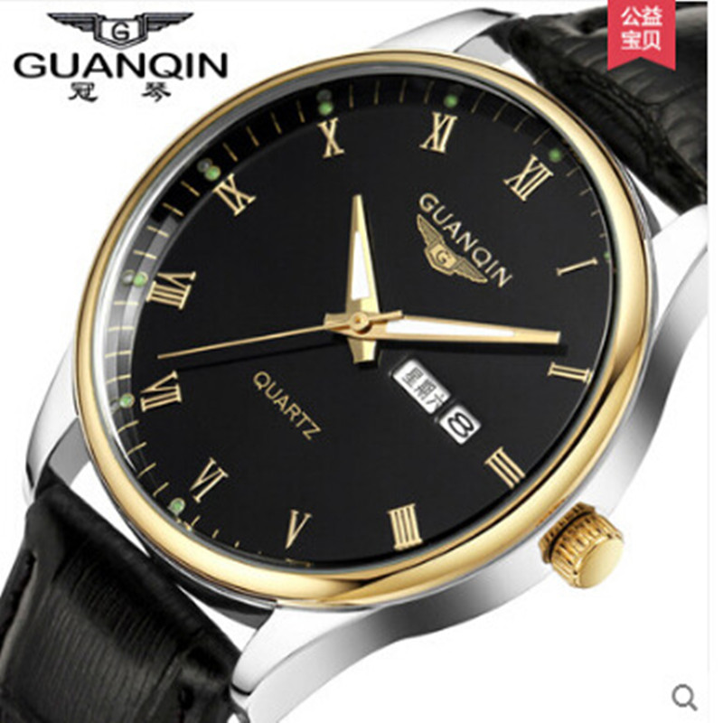 Reloj Luxury Brand GUANQIN Quartz Men Watch Sport Analog Waterproof Watches Leather Strap Watches Clock Relogio Masculino 2018 men watch brand guanqin quartz watches week date waterproof sport casual clock leather strap wristwatches relogio masculino