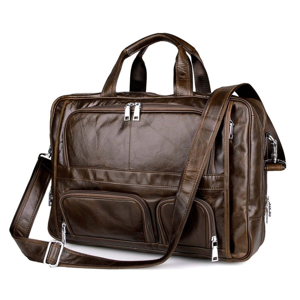 Large capacity 100 Cow Genuine leather bag men 17 5 inch high quality Laptop bag 17
