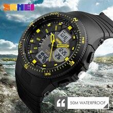 Función dual display digital led relojes de los hombres relojes de pulsera de los hombres cronómetro alarma resistencia al agua calendario brújula skmei relojes