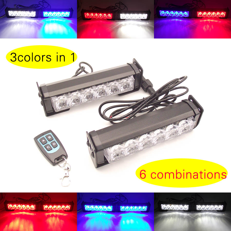 red white blue 3 colors in one remote control 2x6led car grille strobe lights bar wireless auto vehicle flash daytime light 12 24v 400w remote wireless led light bar control box car motorcycle truck flashing flash strobe controllor