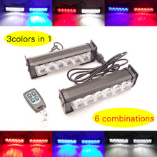 red white blue 3 colors in one remote control 2x6led car grille strobe lights bar wireless auto vehicle flash daytime light