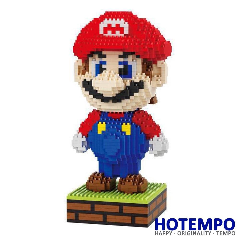 HOTEMPO Big size 1590pcs Mini Blocks Mario Action Figure DIY Building Blocks Model Bricks Educational Toys for Children 16003