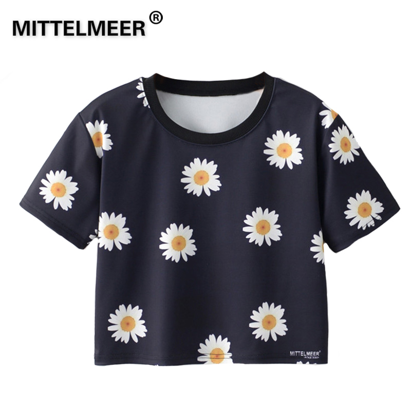 MITTELMEER 2018 Summer kawaii t Shirt Girls Student Women Harajuku Short Sleeve Cartoon chrysanthemum T-Shirts Tee