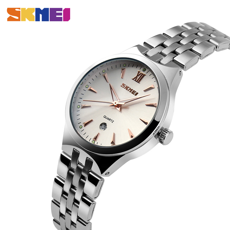SKMEI Clock Women's Watches Men's Watch Couples Wristwatch Top Luxury Water Resistant Date Stainless Steel Relogio Masculino9071