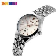 купить SKMEI Fashion Lovers Quartz Watch Men Women Stainless Steel Watches Calendar Waterproof Wristwatches Relogio Masculino 9071 по цене 732.88 рублей