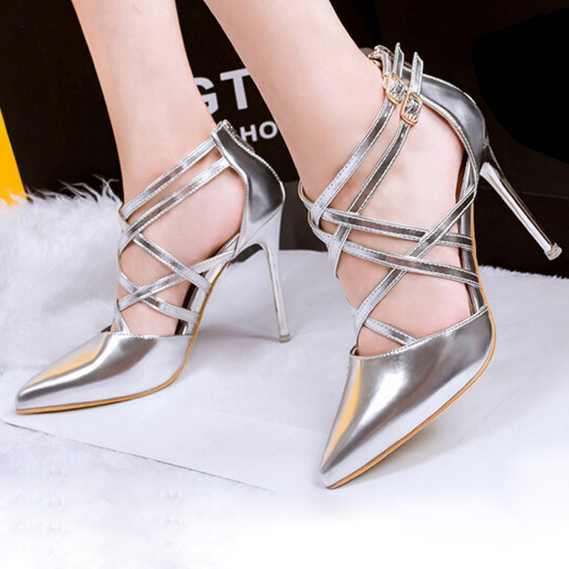 15866286bc US $40.66 |2016 Silver Gold High Heels Summer Style Bling Glitter Gladiator  Sandals Elegant Pointed Toe Pumps Platform Shoes Woman XJL74-in Women's ...