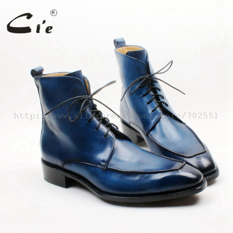 cie Square Toe Custom Handmade Hand painted Blue 100 Genuine Calf Leather Italian Goodyear Welted Hidden