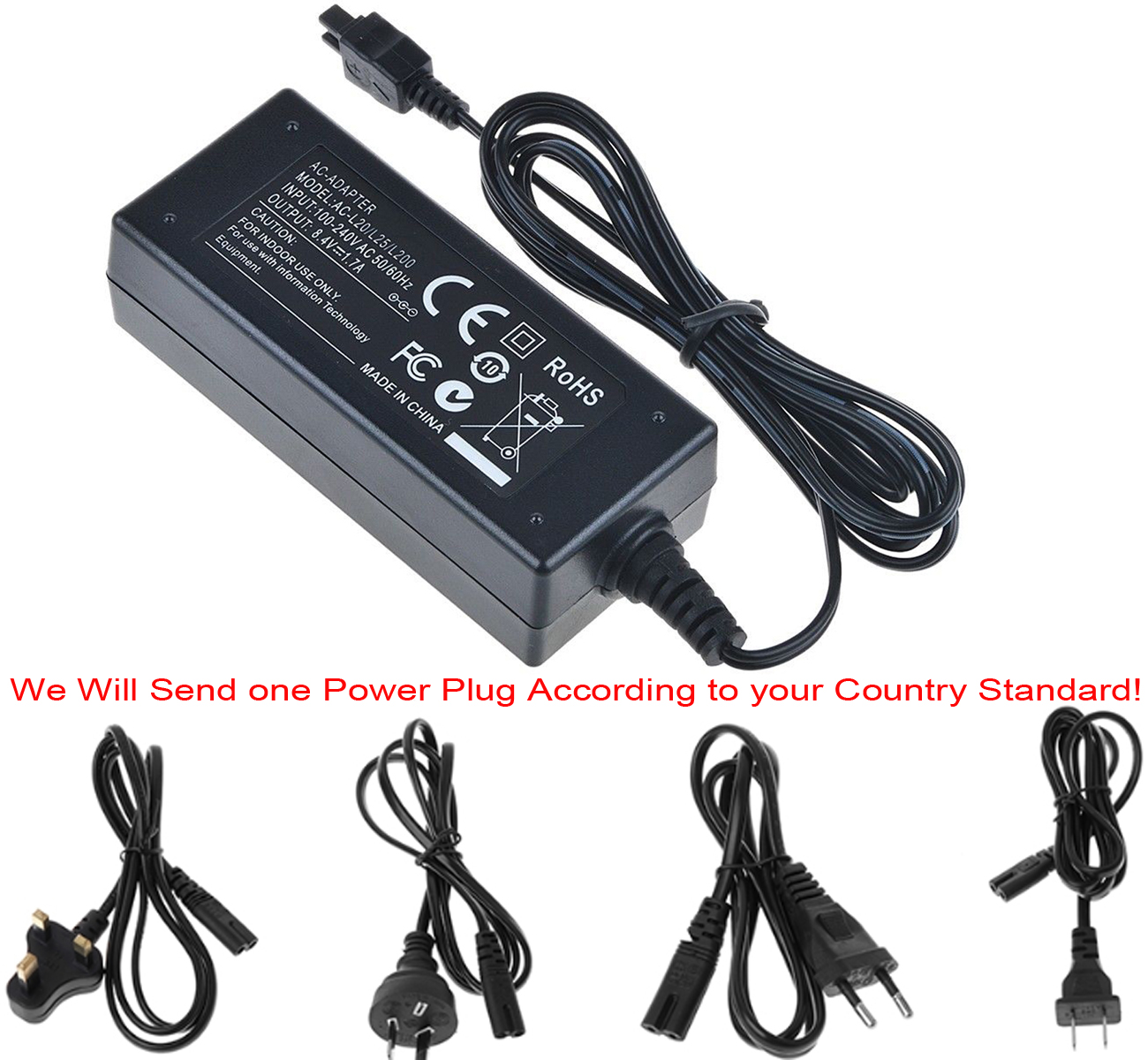AC Adapter Charger for <font><b>Sony</b></font> HDR-CX100, <font><b>CX110</b></font>, CX130, CX150, CX160, CX190, CX200, CX210, CX220, CX230, CX260V Handycam Camcorder image