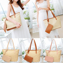NOENNAME_NULL Women Summer Beach Tote Shoulder Bag Ladies Casual Holiday Wicker Straw Rattan Bags