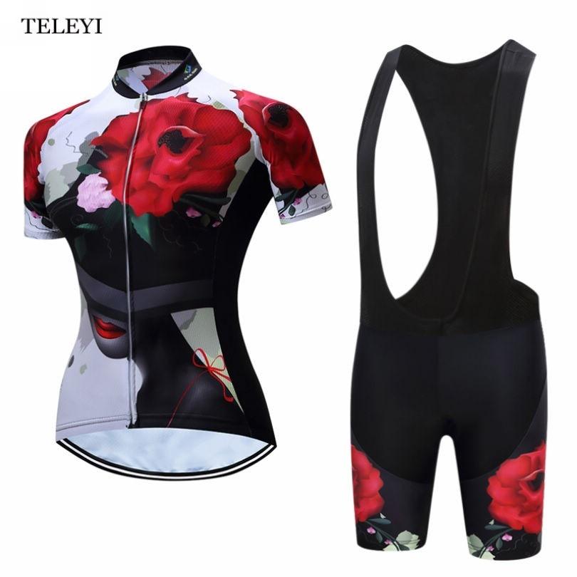 Prix pour 2017 TELEYI Femmes Cyclisme Jersey Filles Vélo Vêtements Sport Shirts Cyclisme Vêtements Wielertrui Ciclismo + Bib Shorts