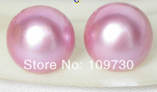 Ry00177 AAA 16mm réel rose Mer Du Sud Mabe Perles Boucles D'oreilles 14KGP or post