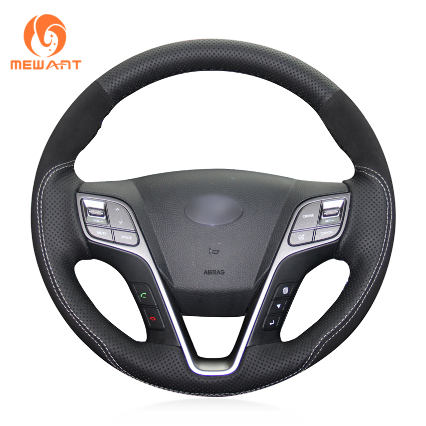 цена на MEWANT Black Genuine Leather Black Suede Car Steering Wheel Cover for Hyundai Santa Fe 2013-2018 ix45 2013 2014 2015 2016
