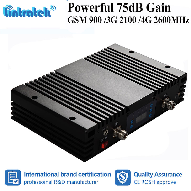 Lintratek 75dB Gain GSM 900 W-CDMA 2100 LTE 2600MHz Mobile Phone Signal Booster Improve 2G/3G/4G MGC Repeater Amplifier S8+3Lintratek 75dB Gain GSM 900 W-CDMA 2100 LTE 2600MHz Mobile Phone Signal Booster Improve 2G/3G/4G MGC Repeater Amplifier S8+3