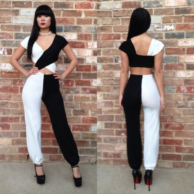 Free Shipping 2014 fashion women bandage jumpsuit sexy bodycon deep V-neck black and white patchwork jumpsuit   H002