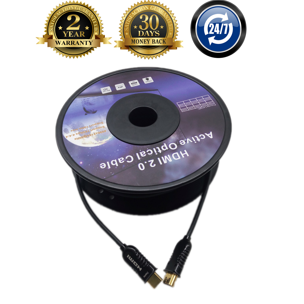 UHD 3D 4K 60Hz 30m 100m HDMI Fiber Optic AOC HDR Extension Cable HDMI 2 0
