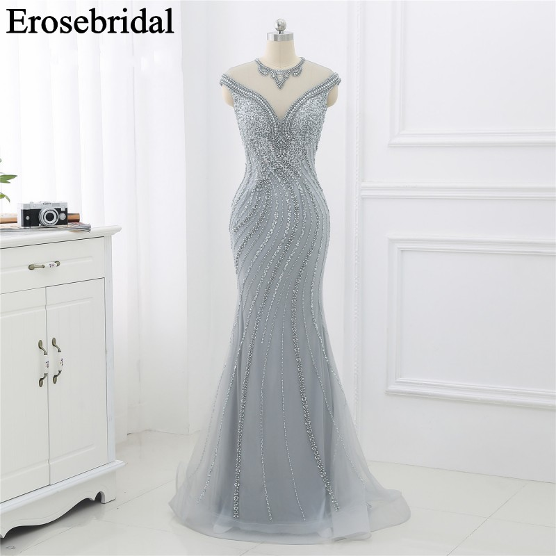 Elegant Evening Dress Long 2019 Sliver Beaded Formal Dresses Evening Gown for Women Illusion Back with Zipper robe soiree