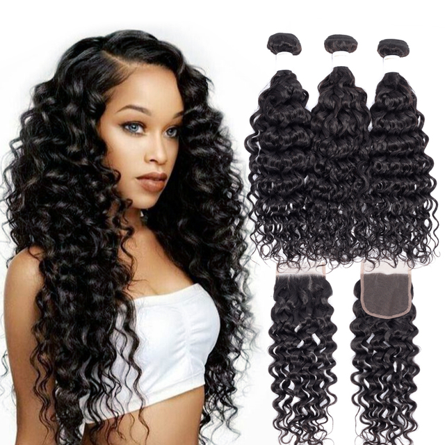 Jarin Loose Deep Wave Bundles With Closure Brazilian Human Hair Weave 3 Bundles With Closure Remy Hair Extension Free Shipping