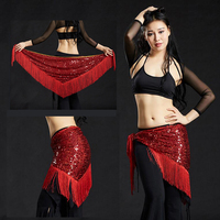9 Colors Belly Dance Clothes Accessories Long Tassel Triangle Belts Belly Dance Hip Scarf Sequin Hip