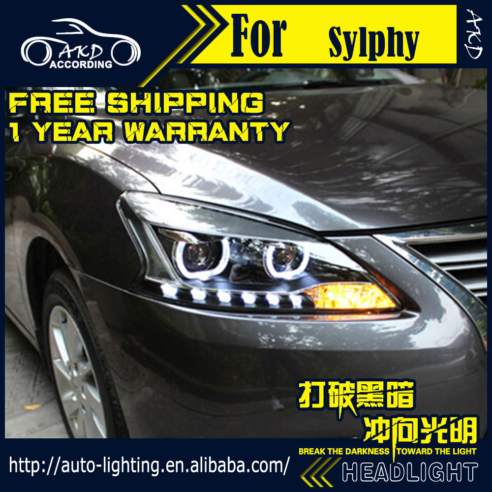 AKD Car Styling Head Lamp for Nissan Sentra Headlights 2012-2015 Sylphy LED Headlight H7 D2H Hid Option Angel Eye Bi Xenon Beam car styling head lamp case for hyundai creta ix25 headlight 2015 2016 sentra led headlight drl h7 d2h hid option bi xenon beam