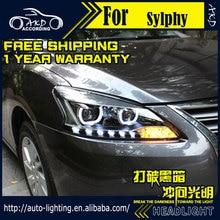AKD Car Styling Head Lamp for Nissan Sentra Headlights 2012-2015 Sylphy LED Headlight H7 D2H Hid Option Angel Eye Bi Xenon Beam