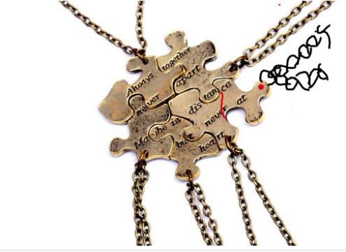 Custom 6 pcs/set Vintage Interlocking Jigsaw Puzzle BFF Necklaces Always together never apart Best Friends Necklace