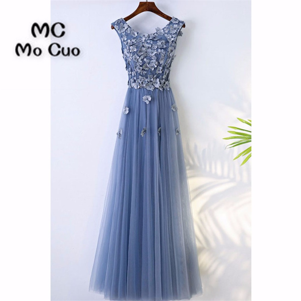 Elegant 2019   Prom     dresses   Long with Appliques Beaded Tank Flowers Tulle   dress   for graduation Formal Evening   Prom     Dress