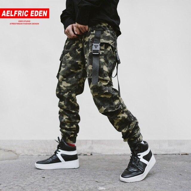 bb3517b032da Aelfric Eden Man Large Pocket Spliced Camouflage Cargo Pants Feet  Locomotive Fashion Trousers Streetwear Men s Wild Casual Pants