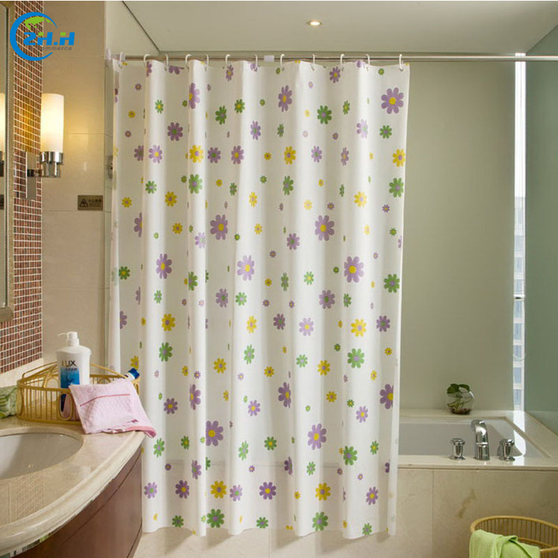 style shower curtains fashion new cute flowers printed peva bathroom