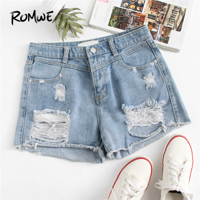 ROMWE Frayed Hem Ripped Denim   Shorts   Blue Button Fly Mid Waist   Shorts   Fashion Summer Regular Women   Shorts