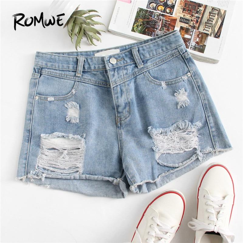 ROMWE Frayed Hem Ripped Denim   Shorts   Blue Button Fly Mid Waist   Shorts   Fashion Summer Regular Women   Shorts