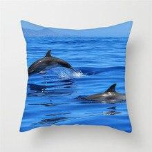 Fuwatacchi Cute Dolphin Cushion Cover for Sofa Car Home Decor Ocean Sea Print Pillow Room Case
