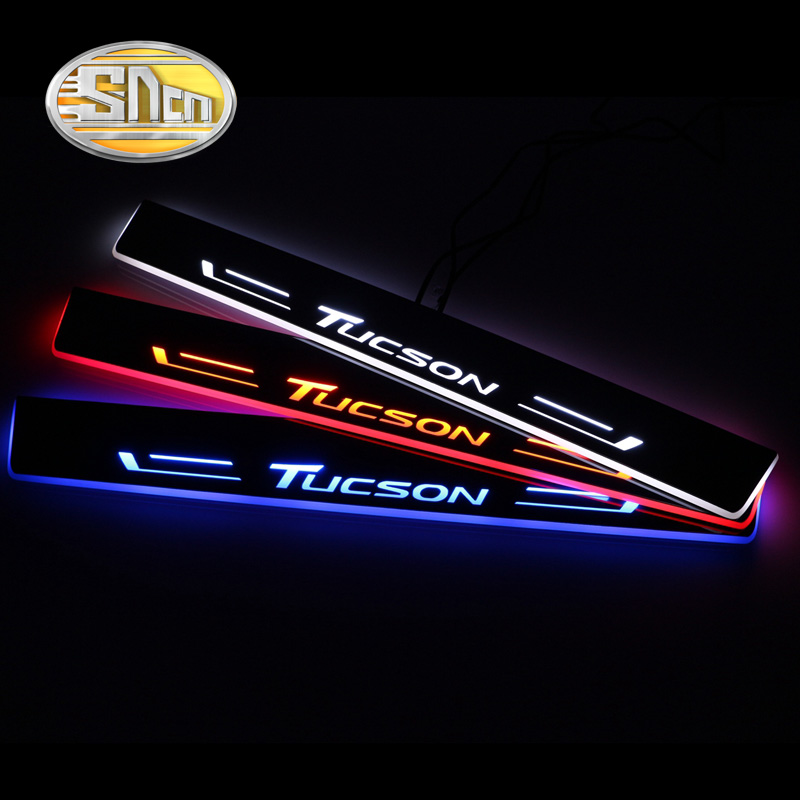 SNCN Car LED Door Sill For Hyundai Tucson 2015 2016 2017 2018 Ultra-thin Acrylic Dynamic LED Welcome Light Scuff Plate Pedal