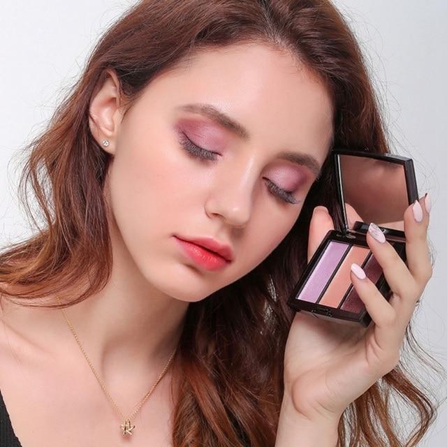 3 colores sombra de ojos profesional cosmético maquillaje Set sombra de ojos paleta sombra de ojos brillo