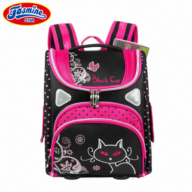 de22b0a8ee1c JASMINESTAR Grade 1-3-5 Children Schoolbags Cartoon Cat Orthopedic Backpack  Waterproof Student Kids Girls Butterfly School Bags