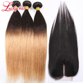 8A Ombre cabelo com encerramento 1B 27 loira cabelo liso Ombre cabelo brasileiro com fechamento 3 Bundles não transformados cabelo com encerramento