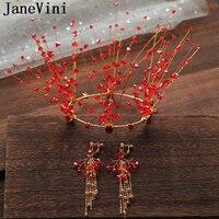 JaneVini 2019 Luxury Rhinestone Full Round Wedding Tiaras and Crowns Princess Diadem Red Bridal Hair Accessories Corona Princesa