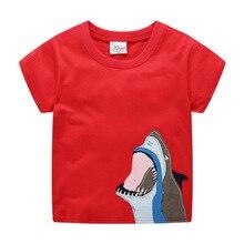 где купить Children summer clothing T-shirt boy short-sleeved round neck T shirt cartoon shark print Tees Tops cotton red new Kids clothes по лучшей цене