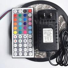 5M 5050 Светодиодные ленты RGB Водонепроницаемый светодиодный Диодная лента IP65 лента SMD мульти Цвет 44-клавишный пульт дистанционного управления, работающего на постоянном токе 12 В в Мощность адаптер