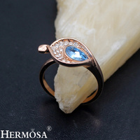 2018 New Design White Bluetopaz Rose Gold Wedding Promise Ring Size 8 5 TF132 Handmade Jewelry