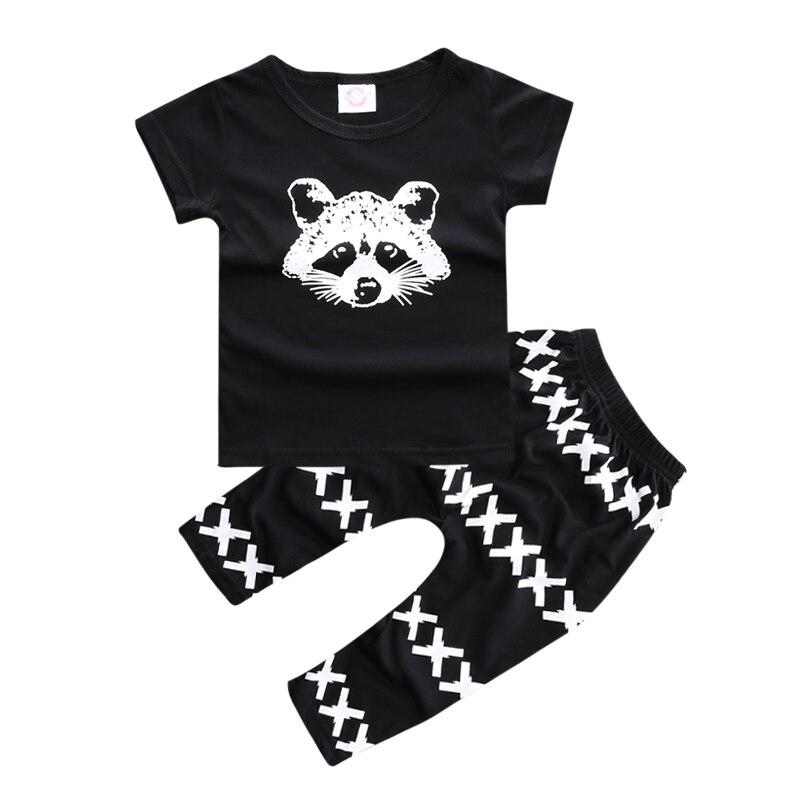 Cartoon Summer Baby Sets Cotton Short Sleeve O-Neck Bear T-shirt + Pants Suits Fashion Newborn Boy Girl Clothes Set Kids Costume
