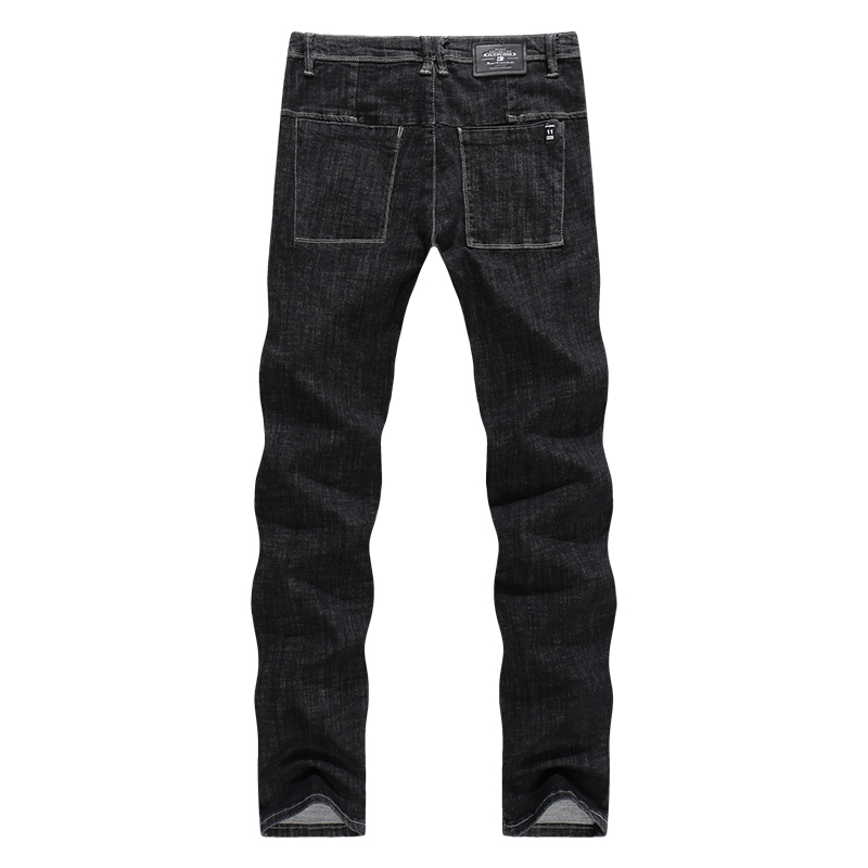 KSTUN Mens High Waist Cotton Straight Slim Thick Classic Jeans Stretch Black Casual Male Denim