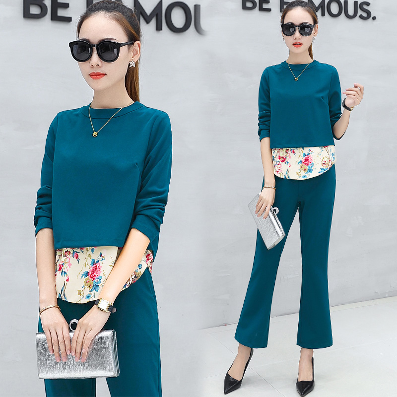 new autumn women suits korean fashion two-piece pullover o neck blouse patchwork floral pants suit outfits vestidos woman sets