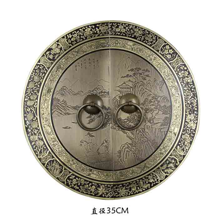 [Haotian vegetarian] bronze Chinese antique furniture, Ming and handle copper door lock landscape section piece 35cm diameter free shipping chinese antique furniture handle lock counter