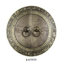 [Haotian vegetarian] bronze Chinese antique furniture, Ming and handle copper door lock landscape section piece 35cm diameter
